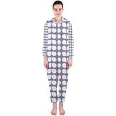 Gray And White Leaf Pattern Hooded Jumpsuit (ladies)