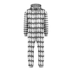 Gray And White Leaf Pattern Hooded Jumpsuit (Kids)
