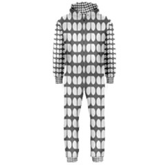 Gray And White Leaf Pattern Hooded Jumpsuit (Men)