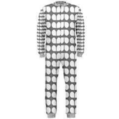 Gray And White Leaf Pattern OnePiece Jumpsuit (Men)