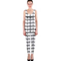 Gray And White Leaf Pattern OnePiece Catsuits