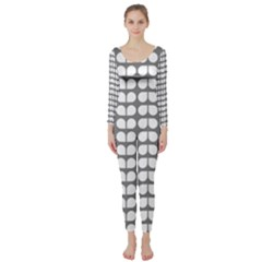 Gray And White Leaf Pattern Long Sleeve Catsuit