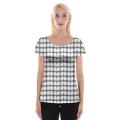 Gray And White Leaf Pattern Women s Cap Sleeve Top