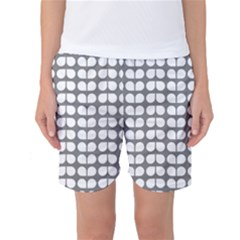 Gray And White Leaf Pattern Women s Basketball Shorts