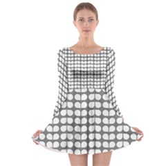 Gray And White Leaf Pattern Long Sleeve Skater Dress