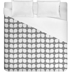 Gray And White Leaf Pattern Duvet Cover Single Side (kingsize)