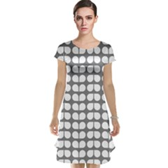 Gray And White Leaf Pattern Cap Sleeve Nightdresses