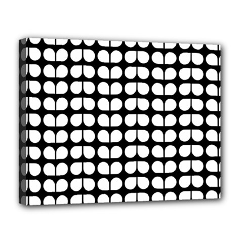 Black And White Leaf Pattern Canvas 14  X 11