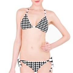 Black And White Leaf Pattern Bikini Set