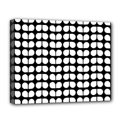 Black And White Leaf Pattern Deluxe Canvas 20  X 16