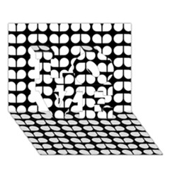 Black And White Leaf Pattern LOVE 3D Greeting Card (7x5)