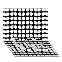 Black And White Leaf Pattern LOVE Bottom 3D Greeting Card (7x5)