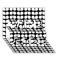 Black And White Leaf Pattern TAKE CARE 3D Greeting Card (7x5)