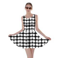 Black And White Leaf Pattern Skater Dresses