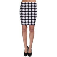 Black And White Leaf Pattern Bodycon Skirts
