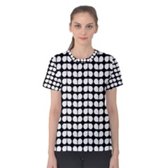 Black And White Leaf Pattern Women s Cotton Tees