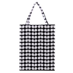 Black And White Leaf Pattern Classic Tote Bags