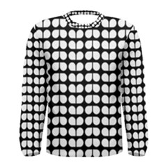 Black And White Leaf Pattern Men s Long Sleeve T Shirts