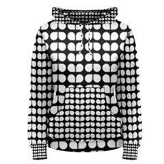 Black And White Leaf Pattern Women s Pullover Hoodies