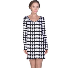Black And White Leaf Pattern Long Sleeve Nightdresses