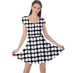 Black And White Leaf Pattern Cap Sleeve Dresses