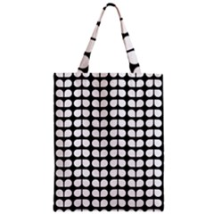 Black And White Leaf Pattern Zipper Classic Tote Bags