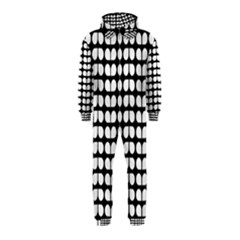 Black And White Leaf Pattern Hooded Jumpsuit (Kids)