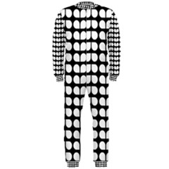 Black And White Leaf Pattern Onepiece Jumpsuit (men)