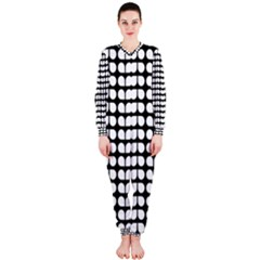 Black And White Leaf Pattern Onepiece Jumpsuit (ladies)
