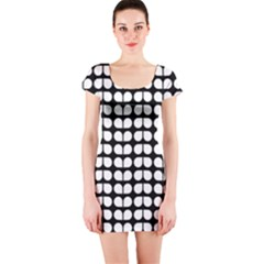 Black And White Leaf Pattern Short Sleeve Bodycon Dresses