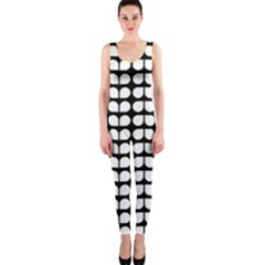 Black And White Leaf Pattern Onepiece Catsuits