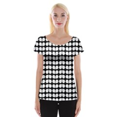 Black And White Leaf Pattern Women s Cap Sleeve Top