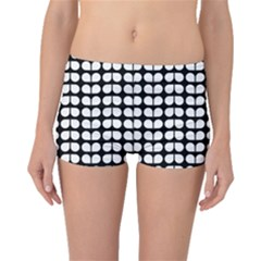 Black And White Leaf Pattern Boyleg Bikini Bottoms