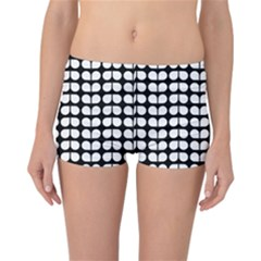 Black And White Leaf Pattern Reversible Boyleg Bikini Bottoms