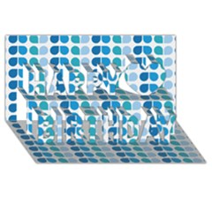 Blue Green Leaf Pattern Happy Birthday 3D Greeting Card (8x4)