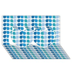 Blue Green Leaf Pattern Twin Hearts 3D Greeting Card (8x4)