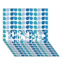 Blue Green Leaf Pattern Hope 3d Greeting Card (7x5)