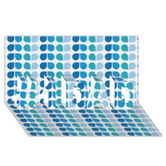 Blue Green Leaf Pattern #1 DAD 3D Greeting Card (8x4)