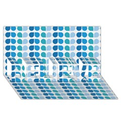 Blue Green Leaf Pattern Believe 3d Greeting Card (8x4)