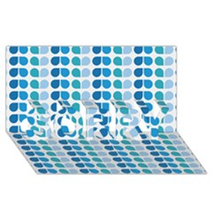 Blue Green Leaf Pattern SORRY 3D Greeting Card (8x4)