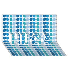 Blue Green Leaf Pattern HUGS 3D Greeting Card (8x4)
