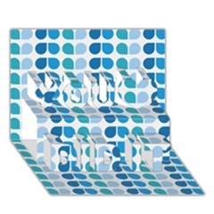 Blue Green Leaf Pattern You Did It 3D Greeting Card (7x5)