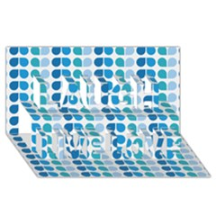 Blue Green Leaf Pattern Laugh Live Love 3d Greeting Card (8x4)
