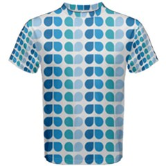 Blue Green Leaf Pattern Men s Cotton Tees