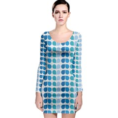 Blue Green Leaf Pattern Long Sleeve Bodycon Dresses