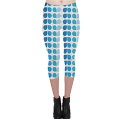 Blue Green Leaf Pattern Capri Leggings
