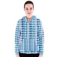 Blue Green Leaf Pattern Women s Zipper Hoodies