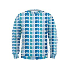Blue Green Leaf Pattern Boys  Sweatshirts