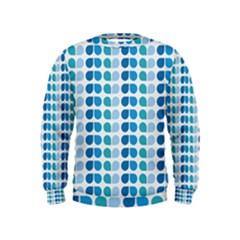 Blue Green Leaf Pattern Boys  Sweatshirts