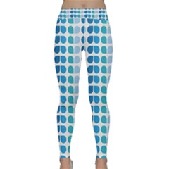 Blue Green Leaf Pattern Yoga Leggings